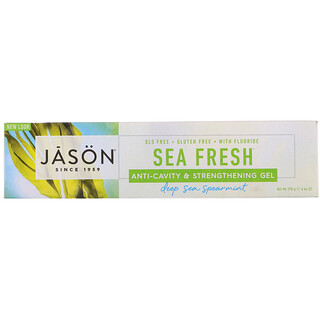 Jason Natural, Sea Fresh, Anti-Cavity & Strengthening Gel, Deep Sea Spearmint, 6 oz (170 g)