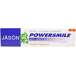 Jason Natural, PowerSmile, Anti-Cavity & Whitening Gel, Powerful Peppermint, 6 oz (170 g)