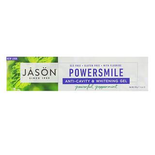 Jason Natural, PowerSmile, Anti-Cavity & Whitening Gel, Powerful Peppermint, 6 oz (170 g)