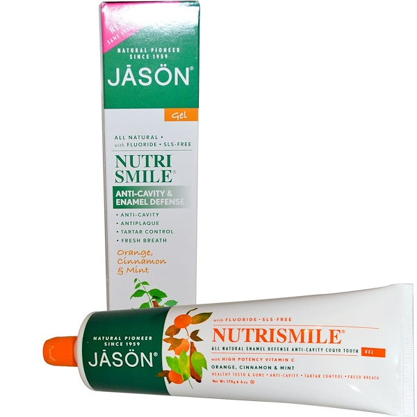 Jason Natural, Nutrismile, Anti-Cavity & Enamel Defense, Tooth Gel, Orange, Cinnamon & Mint, 6 oz (170 g) (Discontinued Item)