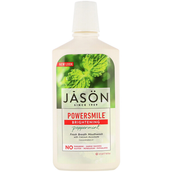 Jason Natural, PowerSmile, שטיפת פה מבהירה, מנטה, 473 מ''ל