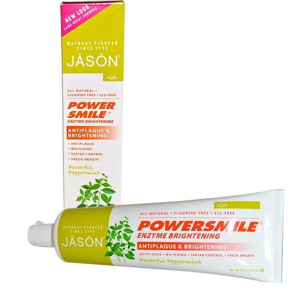Jason Natural, PowerSmile, Enzyme Brightening, Gel, Powerful Peppermint, 4.2 oz (119 g) (Discontinued Item)