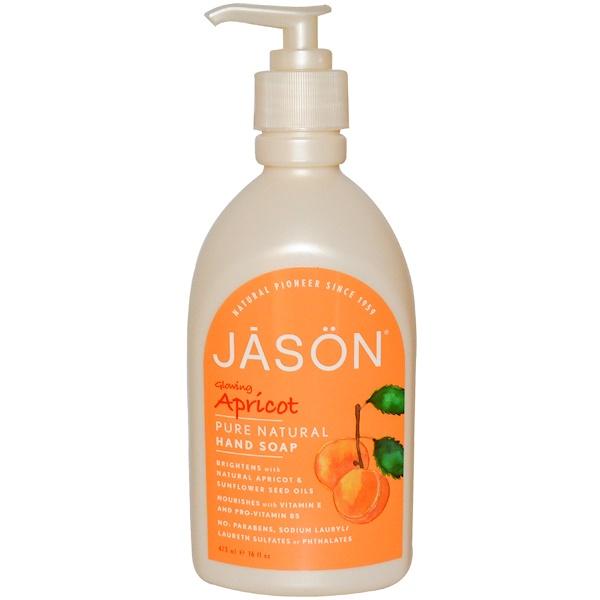 Jason Natural, Hand Soap, Glowing Apricot, 16 fl oz (473 ml) (Discontinued Item)