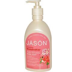 Jason Natural, Hand Soap,  인비거레이팅 로즈워터, 16 플루 온즈 (473 ml)
