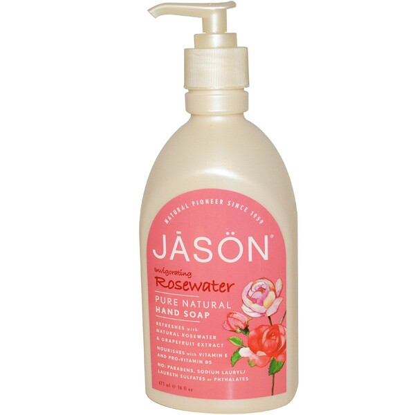 Jason Natural, Hand Soap,  Invigorating Rosewater, 16 fl oz (473 ml) (Discontinued Item)