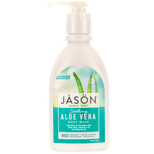 Jason Natural, Pure Natural Body Wash, Soothing Aloe Vera, 30 fl oz (887 ml)