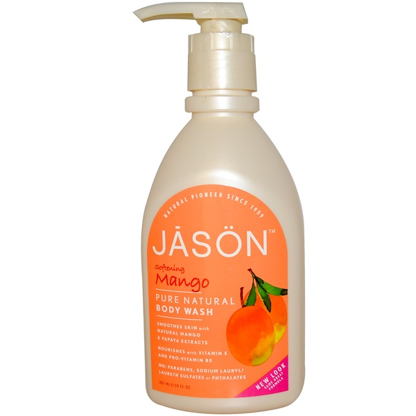 Jason Natural, Body Wash, Softening Mango, 30 fl oz (887 ml)