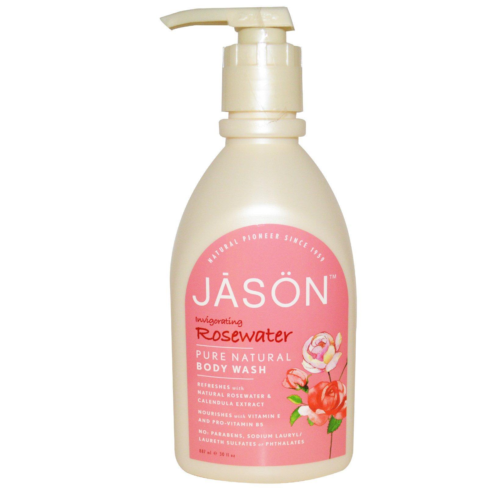 Jason Natural, Чистый натуральный бодрящий гель для душа с розовой водой, 887 мл