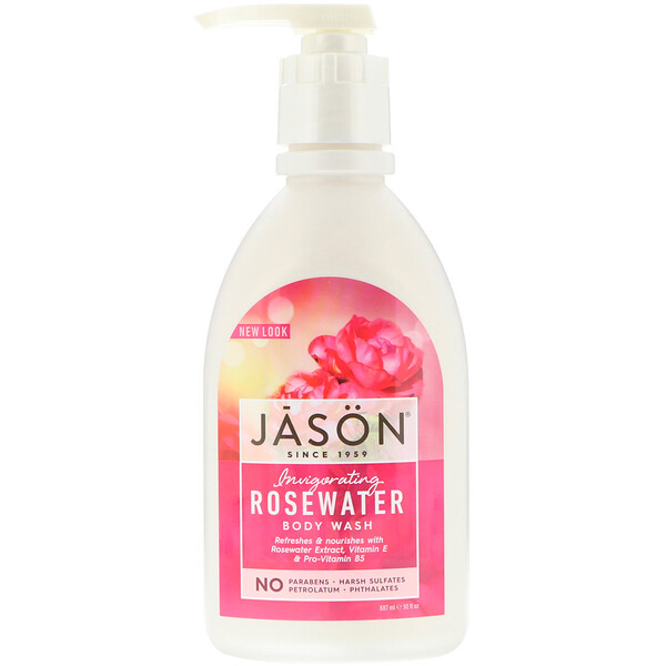 Jason Natural, Body Wash, Invigorating Rosewater, 30 fl oz (887 ml)