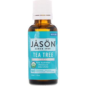 Джэйсон Нэчуралс, 100% Organic Oil, Tea Tree, 1 fl oz (30 ml) отзывы покупателей