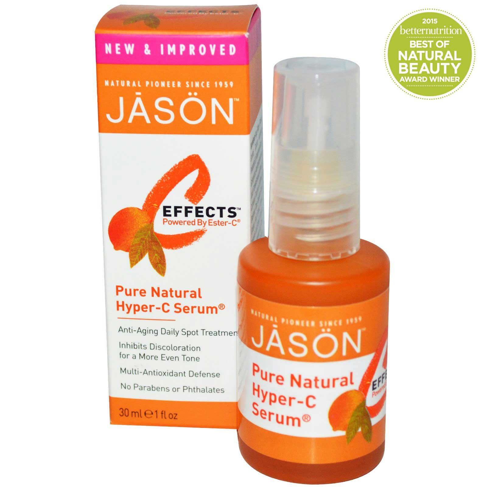 Jason Natural Ester-C (Hyper-C) Serum For Anti-Aging Therapy - 1 Oz, 3 Pack Potent & Pure Eyewitness Eye Repair Creme - 0.5 oz. by Kiss My Face (pack of 1)