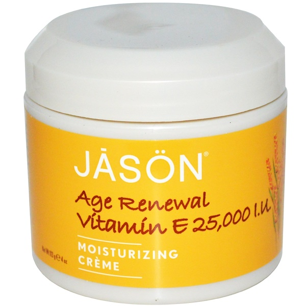 Jason Natural, Age Renewal Vitamin E, Moisturizing Creme, 25,000 IU, 4 oz (113 g)