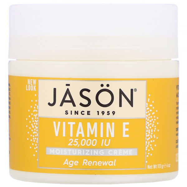 Jason Natural, Age Renewal Vitamin E Moisturizing Creme, 25,000 IU, 4 oz (113 g)