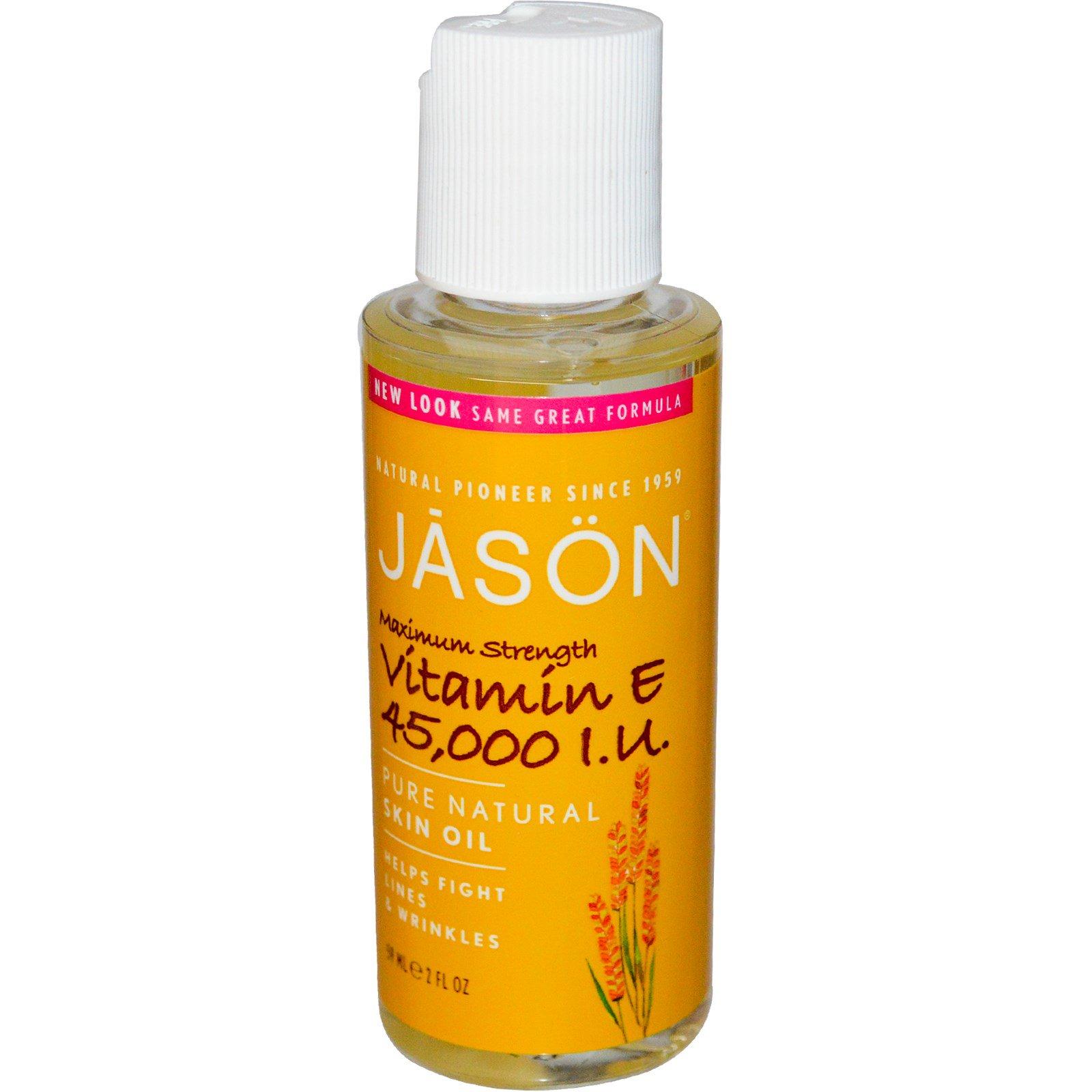 Jason Natural, Чистое, натуральное масло для кожи, Максимальная сила витамина E, 45 000 МЕ, 2 жидких унции (59 мл)