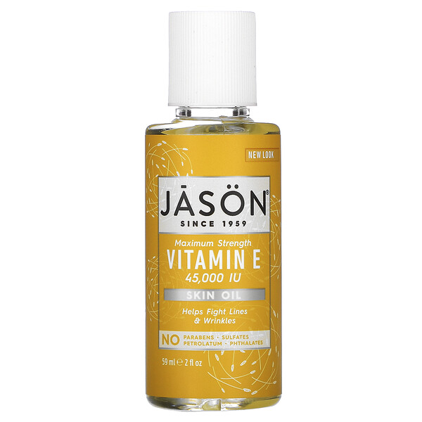 Jason Natural, 純天然スキンオイル, 最大限度のビタミンE, 45,000 IU, 2液量オンス (59 ml)