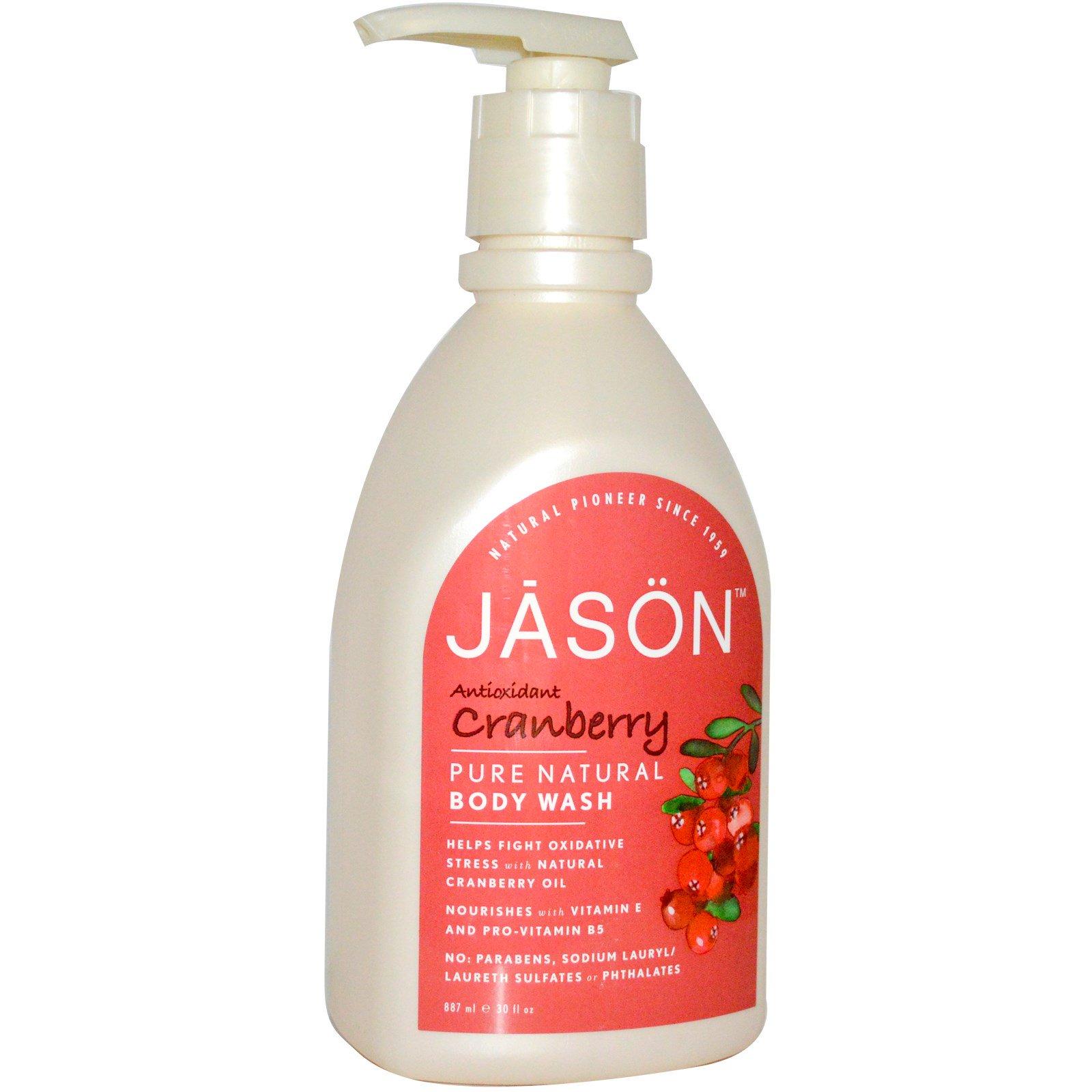 Jason Natural, Чистый натуральный гель для душа, антиоксидантная клюква, 887 мл