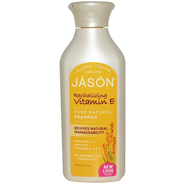 Jason Natural, Pure Natural Shampoo, Revitalizing Vitamin E, 16 fl oz (473 ml) (Discontinued Item)