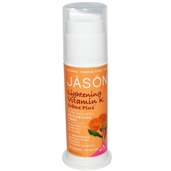 Jason Natural, Pure Natural Moisturizing Crème, Lightening Vitamin K Crème Plus, 2 oz (57 g)