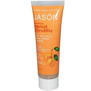 Jason Natural, 브라이트닝 살구 스크러블, 훼이셜 워시 앤 스크럽, 4 온스 (113 g)