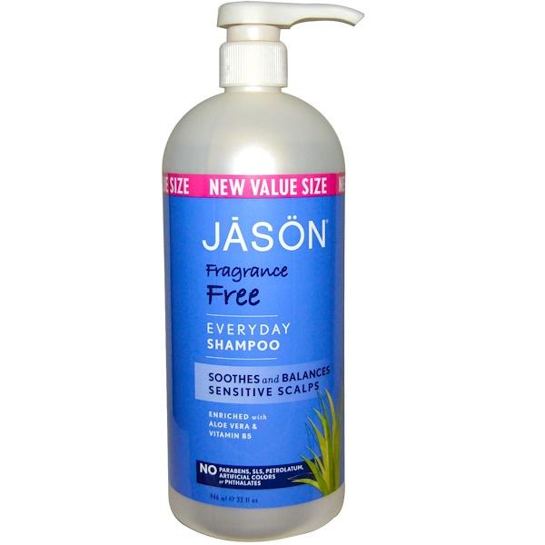 Jason Natural, Everyday Shampoo, Fragrance Free, 32 fl oz (946 ml)
