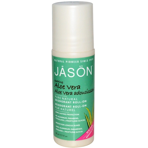 Jason Natural, Deodorant Roll-On, Aloe Vera, 3 fl oz (89 ml)