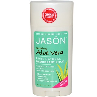 Jason Natural, Pure Natural Deodorant Stick, Soothing Aloe Vera, 2.5 oz (71 g)