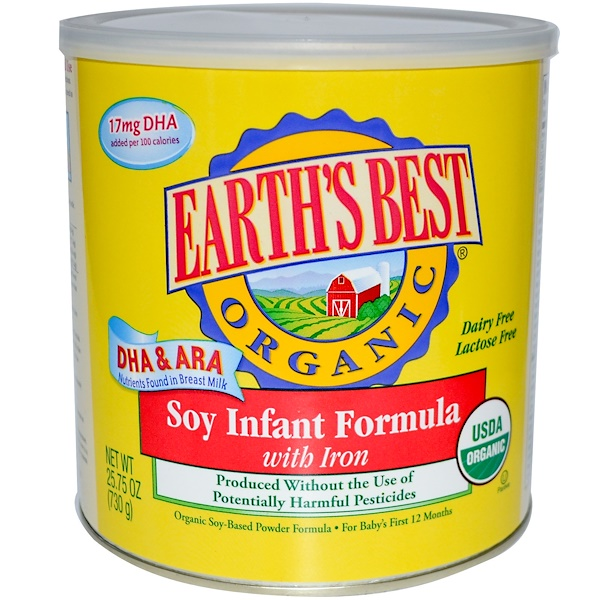 Earth's Best, Soy Infant Formula, With Iron, Organic Soy-Based Powder Formula, 25.75 oz (730 g) (Discontinued Item)