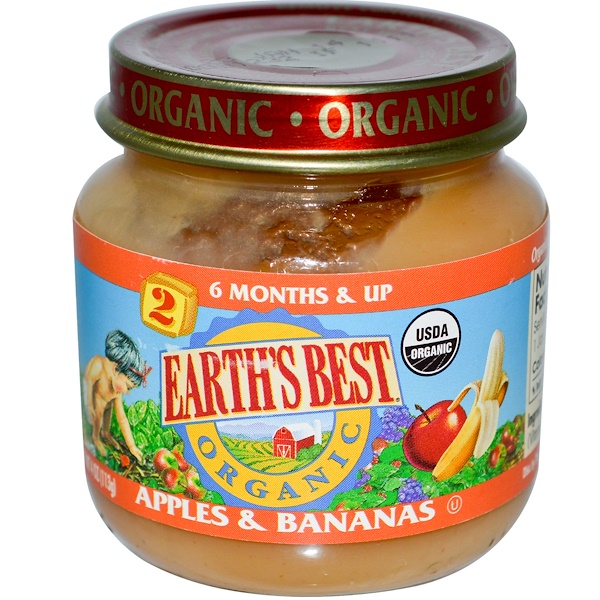 Earth's Best, Organic, Baby Food, Apples & Bananas, 4 oz (113 g) (Discontinued Item)
