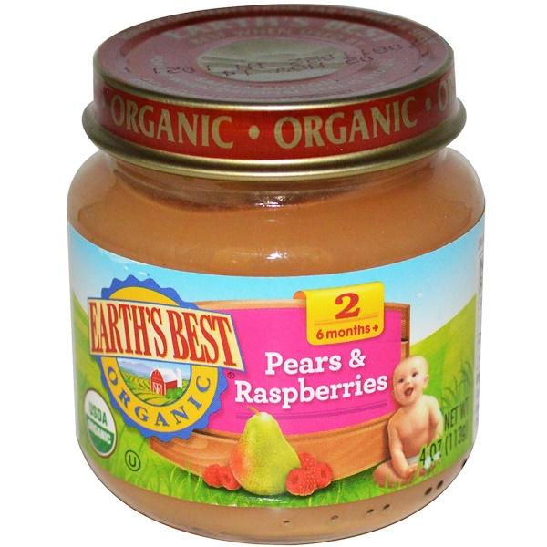Earth's Best, Органическое детское питание, груша и малина, от 2,6 месяцев +, 4 унции (113 г) (Discontinued Item)