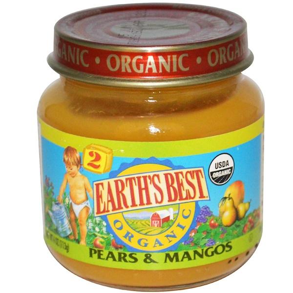 Earth's Best, Органическое детское питание, Груша и манго, 4 унции (113 г) (Discontinued Item)