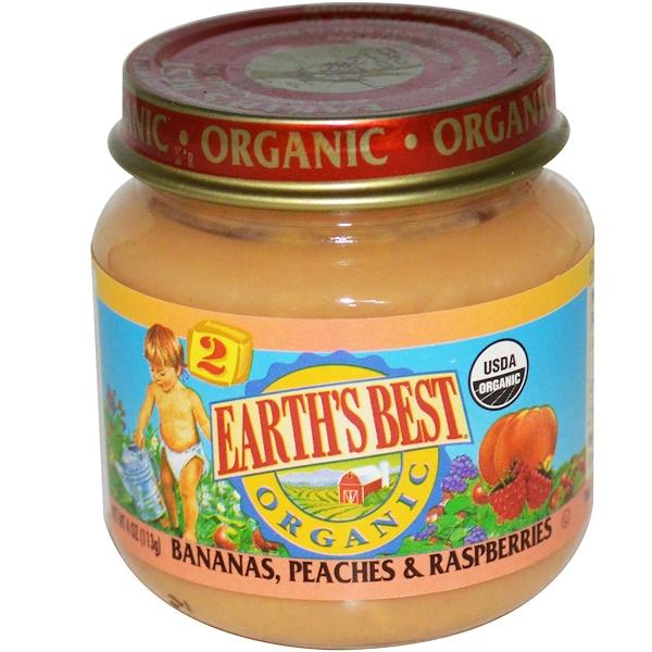 Earth's Best, Органика, Детское питание с бананами, персиками и малиной, 4 унции (113 г) (Discontinued Item)