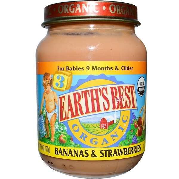Earth's Best, Детское питание, банан и клубника, от 9-ти месяцев и старше, 170 г (Discontinued Item)