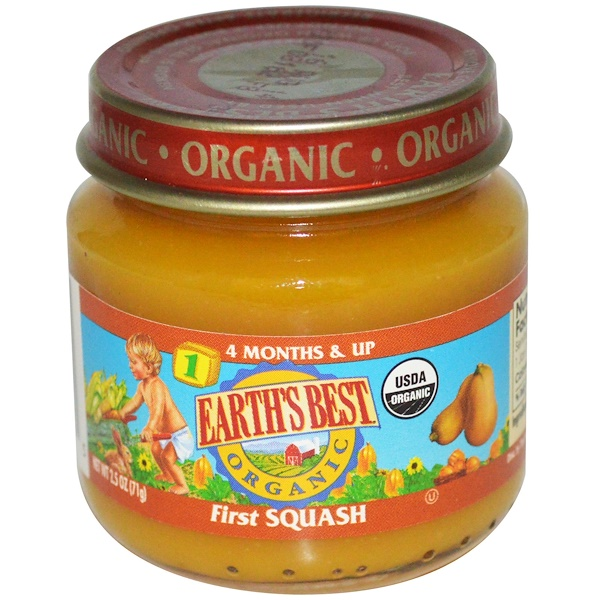 Earth's Best, Organic, Baby Food, First Squash, Stage 1, 4 Months & Up, 2.5 oz (71 g) (Discontinued Item)