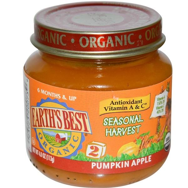 Earth's Best, Organic, Seasonal Harvest, Pumpkin Apple, Stage 2, 4 oz (113 g) (Discontinued Item)