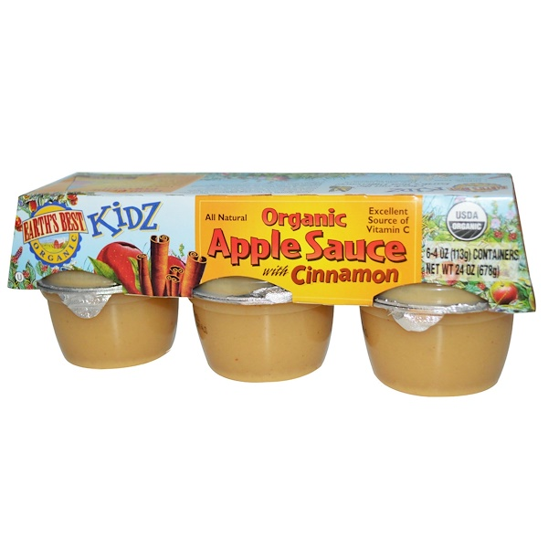 Earth's Best, Kidz, Organic Apple Sauce with Cinnamon, 6 Containers, 4 oz (113 g) Each (Discontinued Item)