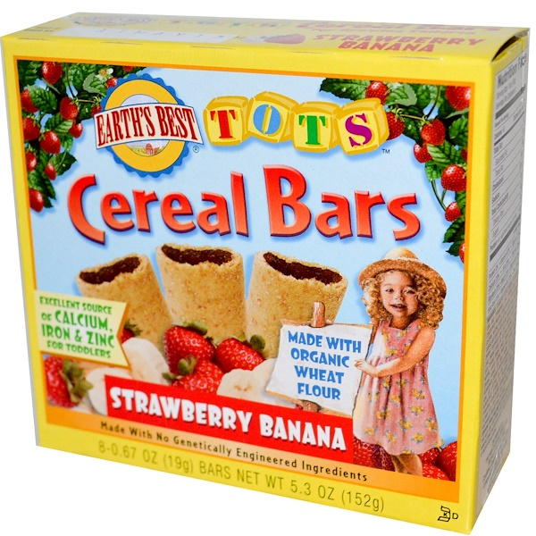 Earth's Best, Tots, Cereal Bars, Strawberry Banana, 8 Bars, 0.67 oz (19 g) Each (Discontinued Item)