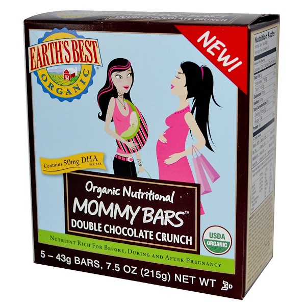 Earth's Best, Organic Nutritional Mommy Bars, Double Chocolate Crunch, 5 Bars, 43 g Each (Discontinued Item)