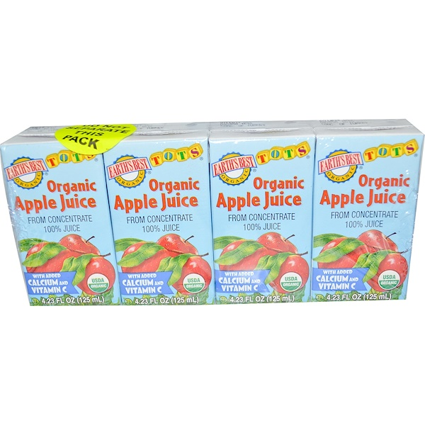 Earth's Best, Tots, Organic Apple Juice, 4 Boxes, 4.23 fl oz (125 ml) Each (Discontinued Item)