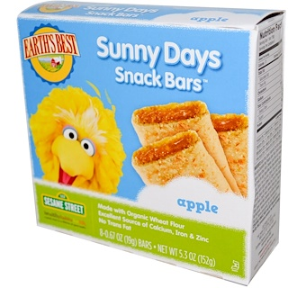 Earth's Best, ジェイソン, Sunny Days Snack Bars, Apple, 8 Bars, 0.67 oz (19 g) Each