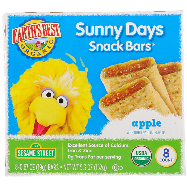 Earth's Best, Sunny Days Snack Bars, Apple, 8 Bars, 0.67 oz (19 g) Each