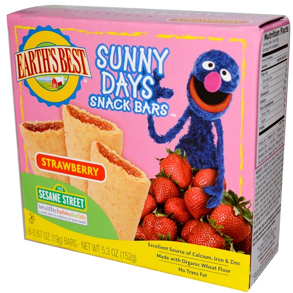 Organic Sunny Days Snack Bars, Strawberry, 8 Bars, 0.67 oz (19 g) Each