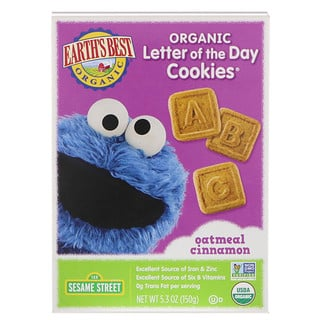 Earth's Best, Galletitas Letter of the Day, Avena y canela, 5.3 oz (150 g)