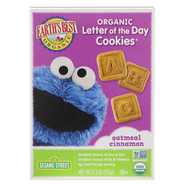 Earth's Best, Organic Letter of the Day Cookies, Oatmeal Cinnamon, 5.3 oz (150 g) (Discontinued Item)