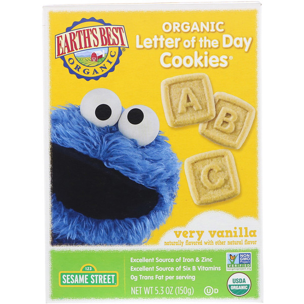 Earth's Best, Organic Letter of the Day Cookies, Very Vanilla, 5.3 oz (150 g) (Discontinued Item)