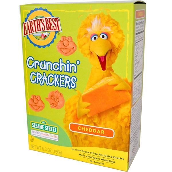 Earth's Best, Органические крекеры Crunchin', с сыром чеддер, 5.3 унций (150 г) (Discontinued Item)