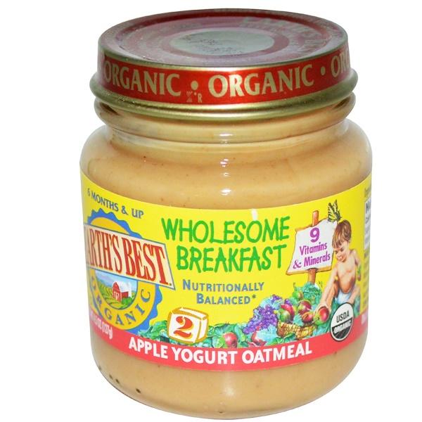 Earth's Best, Натуральный, Полезный завтрак, Овсянка с йогуртом и овсяными хлопьями, Этап 2, старше 6 месяцев, 4.5 унций (127 г) (Discontinued Item)