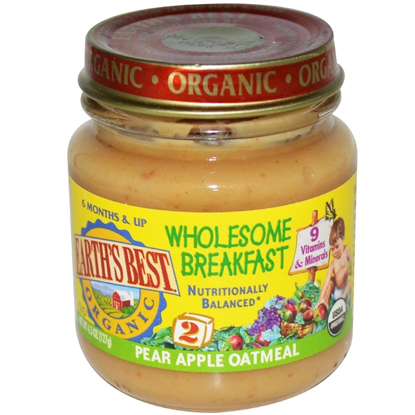 Earth's Best, Organic Wholesome Breakfast, Pear Apple Oatmeal, 4.5 oz (127 g) (Discontinued Item)