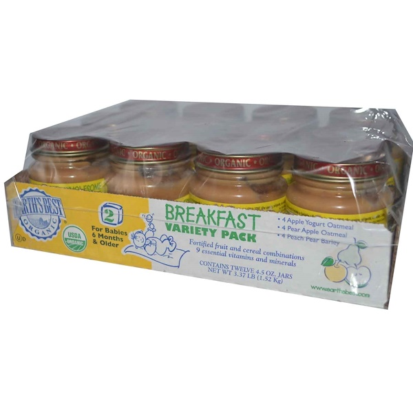 Earth's Best, Wholesome Breakfast Variety Pack, Stage 2, 12 Jars, 4.5 oz (127 g) Each (Discontinued Item)