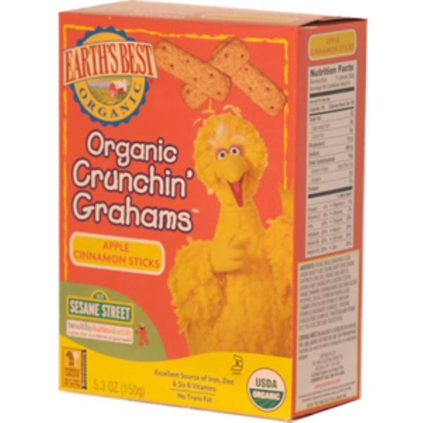 Earth's Best, Organic Crunchin´ Grahams, Apple Cinnamon Sticks, 5.3 oz (150 g) (Discontinued Item)