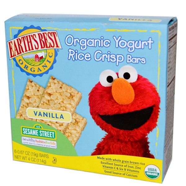 Earth's Best, Органические батончики из хрустящего риса с йогуртом, ваниль, 6 батончиков, по 19 г каждый (Discontinued Item)
